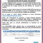 CONTRATO DE AUXILIARES DE EDUCACIÓN -ADJUDICACIÓN DE PLAZAS VACANTES
